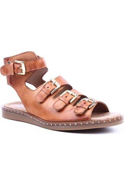Venüs Kadın Kahverengi Hakiki Deri Casual Günlük Sandalet