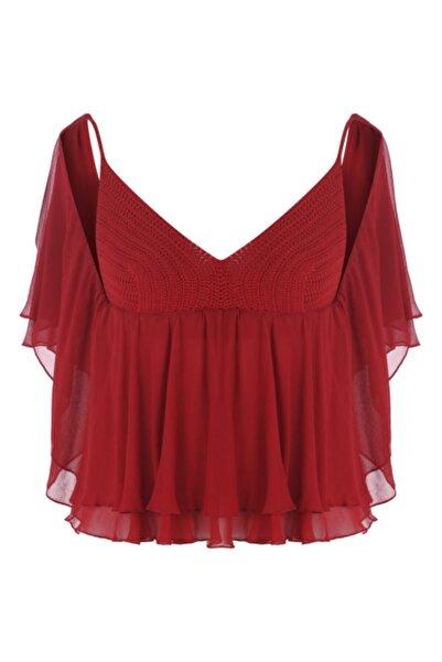 Meltem Özbek Kadın Kırmızı Şifon Örme Detaylı Bluz