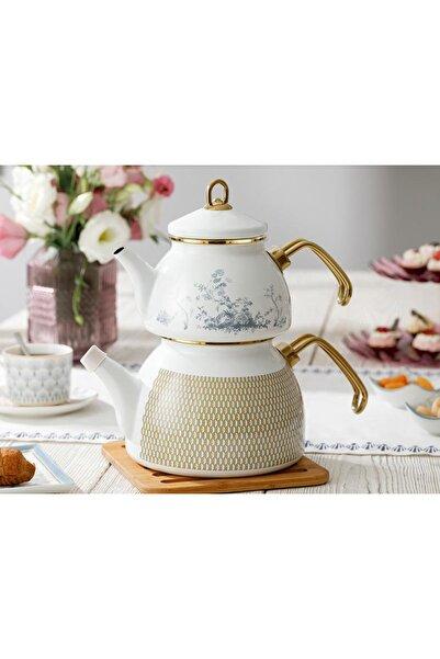 English Home Tual Emaye Çaydanlık 2,5 lt. Beyaz Mavi