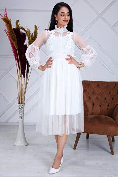Matik Abiyem Gipe Işlemeli Aplik Garnili Tül Tasarım Elbise