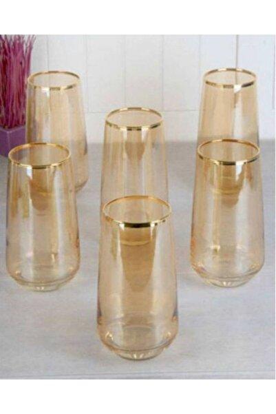 DiamondCrystal Lal Gold Bal Rengi 6 Adet Büyük Boy Meşrubat Su Bardağı Seti