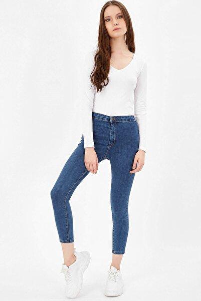 Arma Life Kadın Mavi Cepsiz Yüksek Bel Pantolon