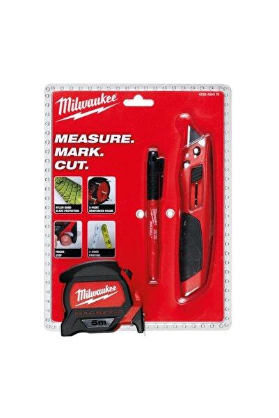 İKON MARKET Milwaukee T4932459375 Ağır Hizmet Tipi 3'lü Set Maket Bıçağı, Metre Ve Işaretleme Kalemi