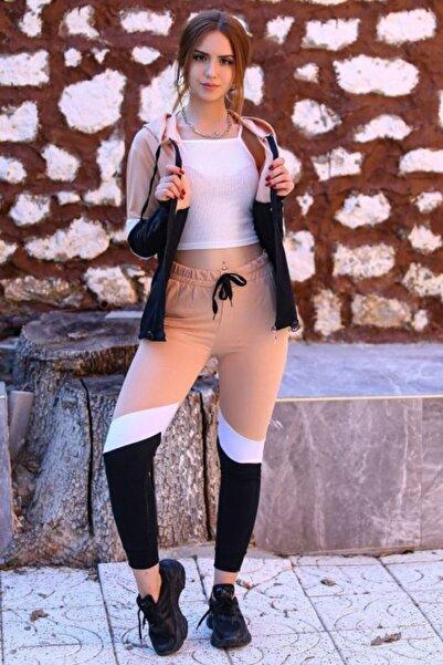 Haydigiy Kadın Kahverengi Kapüşonlu Fermuarlı Eşofman Takımı