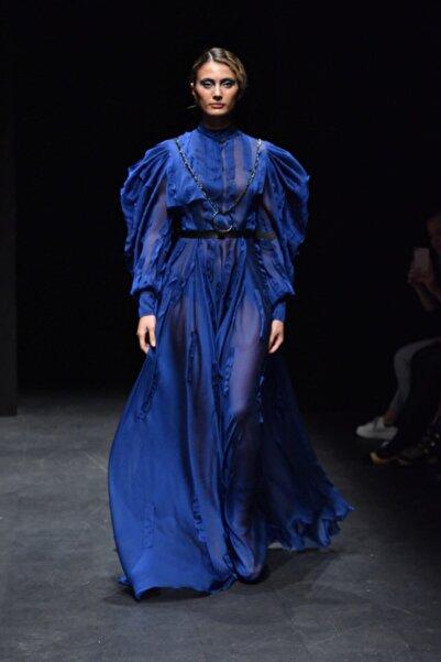 MERT ERKAN Kadın Saks Mavi Şifon Elbise