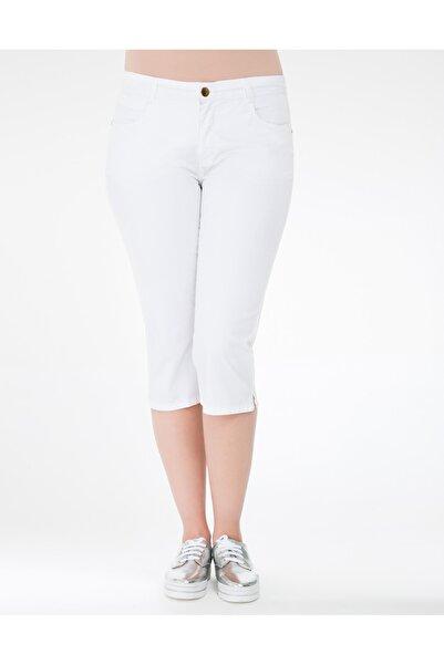 GEBE Kadın Beyaz Büyük Beden Kapri Pantolon