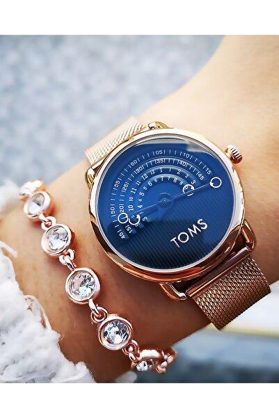 Toms Yeni Sezon Orijinal Çelik Bayan Saati + Bileklik