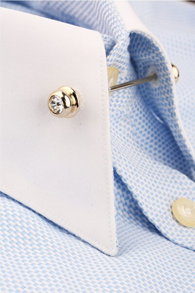 La Pescara Erkek Altın Renk Beyaz Taşlı Gömlek Yaka İğnesi GI174