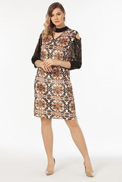 Laranor Kadın Desenli Omuz Detaylı Kadife Elbise 19LB9136