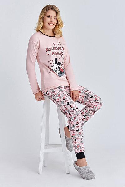 MINNIE Lisanslı Kadın Pijama Takımı Pudra