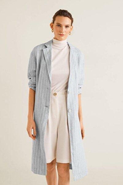 MANGO Woman Kadın Mavi Keten Karışımlı Çizgili Ceket 43057700
