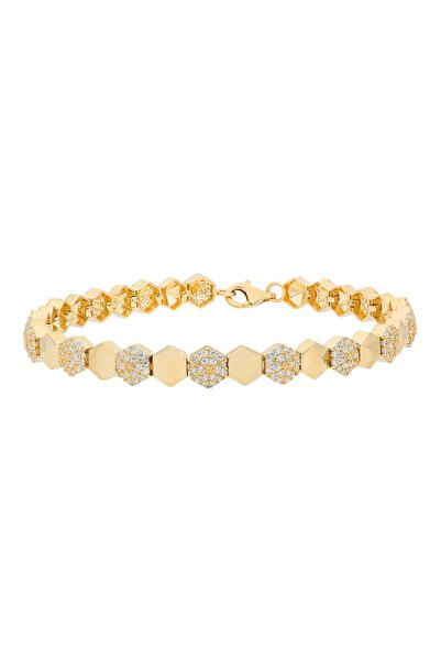 PinkGoldStore Bal Peteği Taşlı Sarı Altın Bilezik