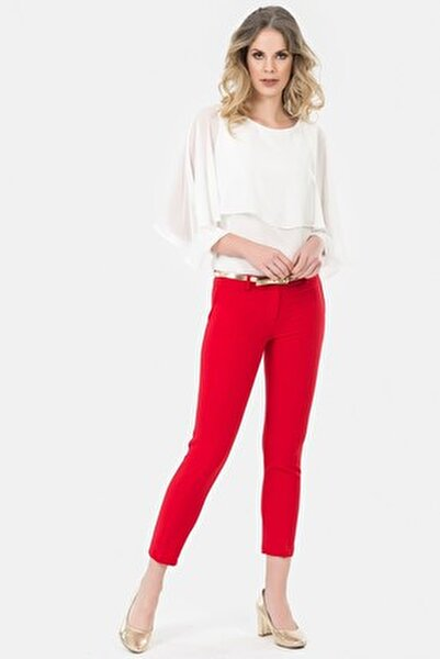 Kadın Kırmızı Kemerli Dar Paça Pantolon 1581-891A