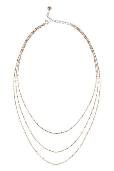 BENDİS Kadın Rose-Gümüş Katmer Aynalı Üçlü Kolye Kısa C558