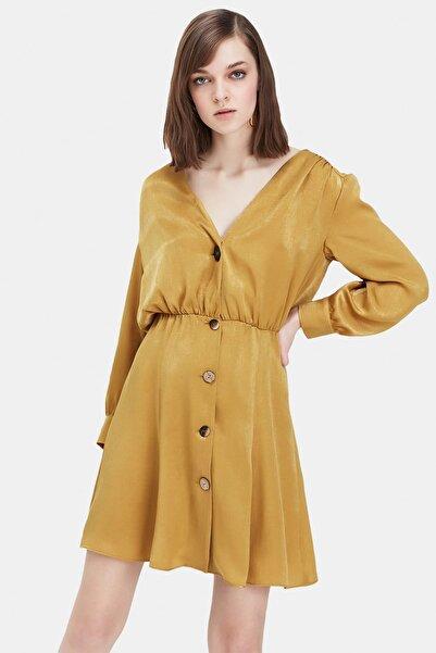 İpekyol Kadın Bronz Bronz Kemik Düğme Gömlek Elbise IS1190002422146