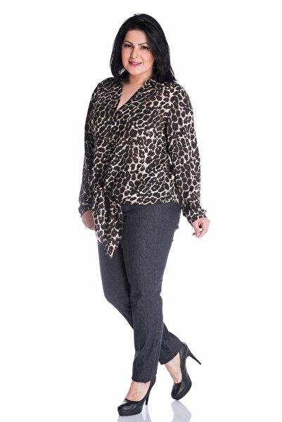 MYLİNE Kadın Koyu Gri Beli Lastikli Jeans BLDP2
