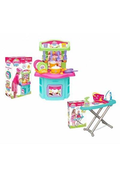 Barbie 2 Li Set - Şef Oyuncak Mutfak Seti + Ütü Seti Eğitici Erkek Kız Çocuk Oyuncakları