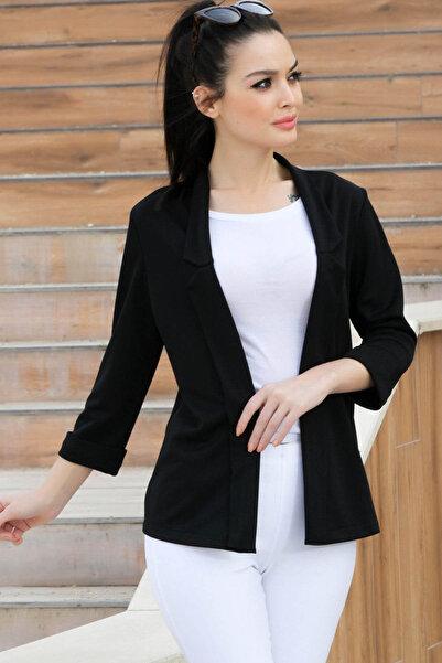 armonika Kadın Siyah Duble Kol Yakalı Ceket ARM-17Y00040