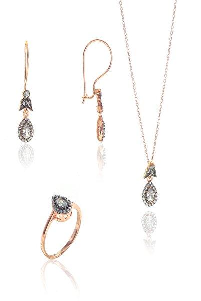 Söğütlü Silver Kadın Gümüş Rose Zirkon Taşlı Elmas Montürlü Damla Set Rose-15 SGTL9005