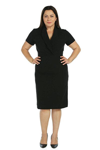 Nidya Moda Kadın Siyah Kruvaze Yaka Abiye Elbise