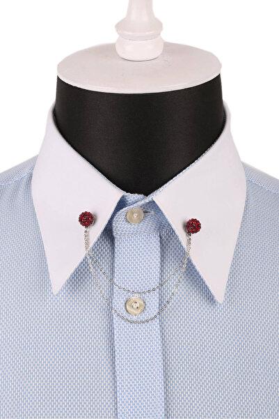 La Pescara Kristal Bordo Taşlı Gümüş Renk Gömlek Yaka İğnesi GI068