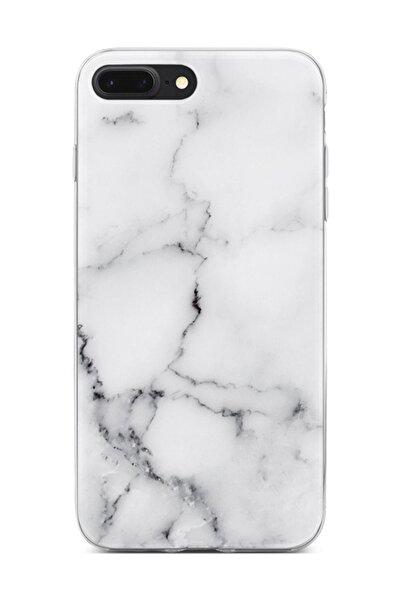 Melefoni iPhone 7 Plus Kılıf Marble Mermer Desenli Beyaz