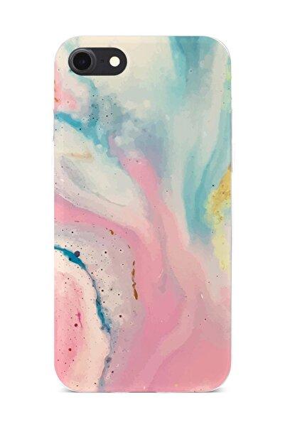 Melefoni iPhone 7 Kılıf Marble Mermer Desenli Ebruli