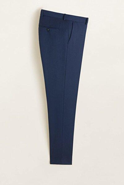 MANGO Man Erkek Mürekkep Mavisi Dar Kesimli Kırkım Yünlü Takım Pantolon 43030912