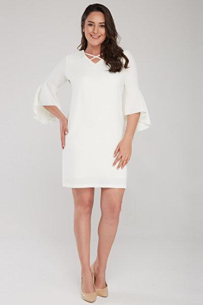 Laranor Kadın Ekru Kol Ve Yaka Biye Detaylı Elbise 17LB9108