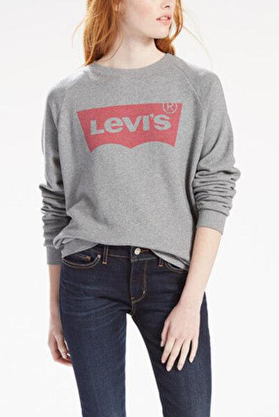 Relaxed Graphic Crew Neck Kadın Açık Gri Sweatshirt
