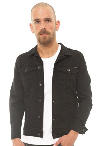 Cazador Erkek Siyah Kaplamalı Kumaş Kot Ceket -Caz 1700