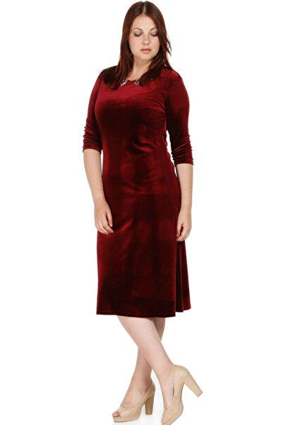 Nidya Moda Kadın Bordo Taş İşli Kadife Abiye Elbise 4072AB