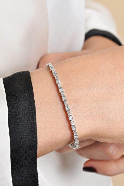 PinkGoldStore Baget Ve Prenses Kesim Taşlı 14 Ayar Altın Bileklik