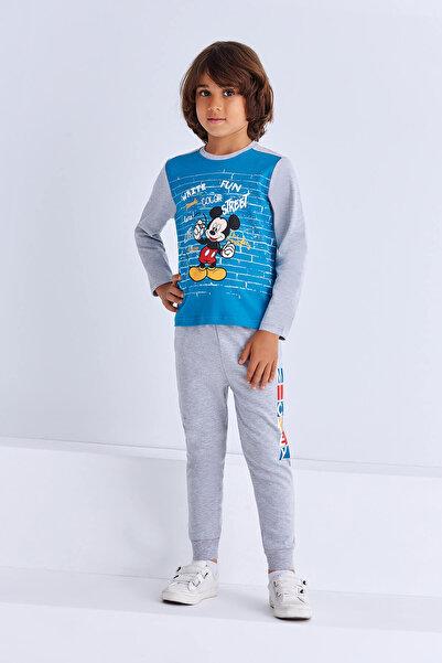 Mickey Mouse Lisanslı Erkek Çocuk Eşofman Takımı Petrol 6-8 Yaş