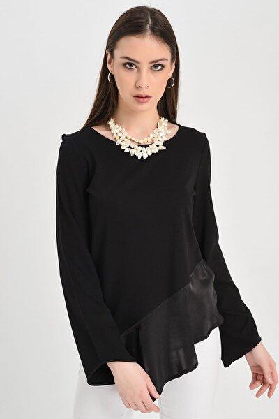 Hanna's by Hanna Darsa Kadın Siyah Uzun Kollu Siyah Eteği  Asimetrik Şifon Bluz Hn1064