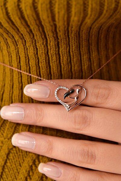 Papatya Silver 925 Ayar Gümüş Beyaz Taşlı Kalp Anne Çocuk Kadın Kolye