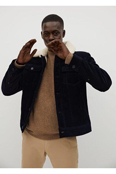 MANGO Man Erkek Lacivert Suni Kürk Astarlı Fitilli Kadife Ceket
