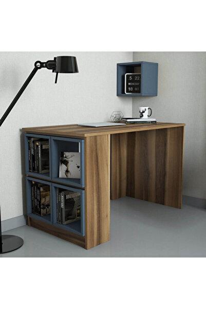 Variant Mobilya Box Çalışma Masası - Ceviz / Mavi