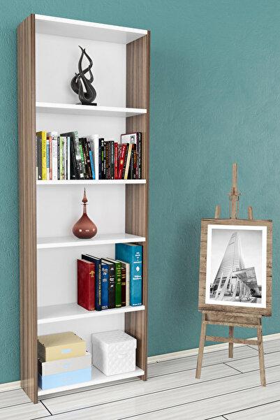 Nur Mobilya Melisa 5 Raflı Kitaplık Ceviz-Beyaz