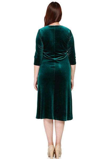 Nidya Moda Kadın Yeşil Taş İşli Kadife Abiye Elbise 4072AY