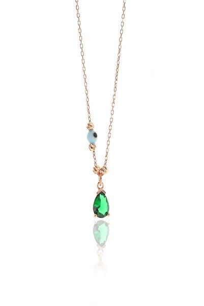 Söğütlü Silver Kadın Gümüş Dorica Toplu Taşlı Damla Kolye Yeşil SGTL9018