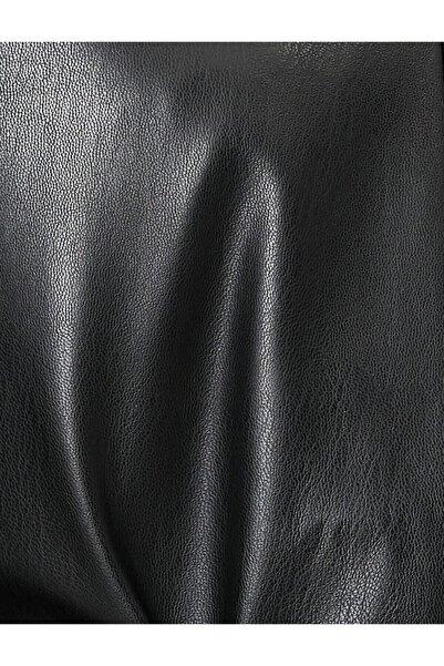 ENZELO Siyah Suni Deri Döşemelik Kumaş
