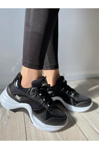 Twingo Kadın Siyah Kalın Taban Günlük Spor Ayakkabı