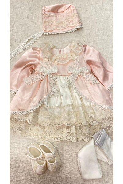 Pugi Baby Kız Bebek Mevlüt Seti Vintage Model Saten Ve Dantel Kumaş Lora Bonnet Şapka