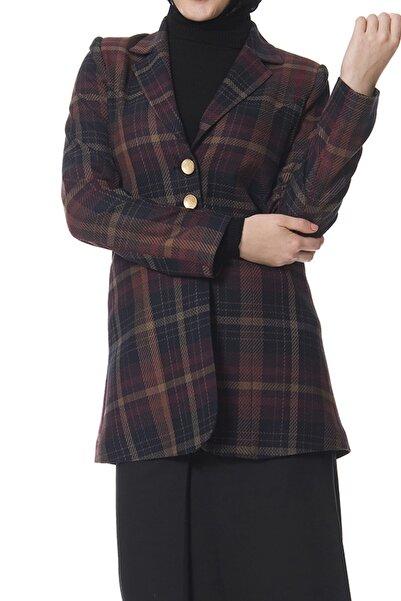 Moday Kadın Mürdüm Ekoseli Puane Ceket J8-100366 J8-100366