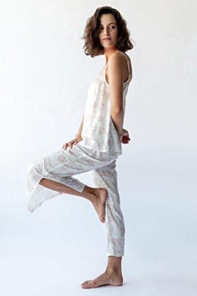 Kadın Somon Baskılı Paçası Yandan Yırtmaç Detaylı Saten Pijama Altı