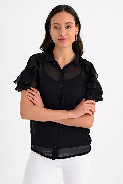 Hanna's by Hanna Darsa Kadın Siyah Kısa Kollu Kolları Volan Detaylı Şifon Gömlek HN1638