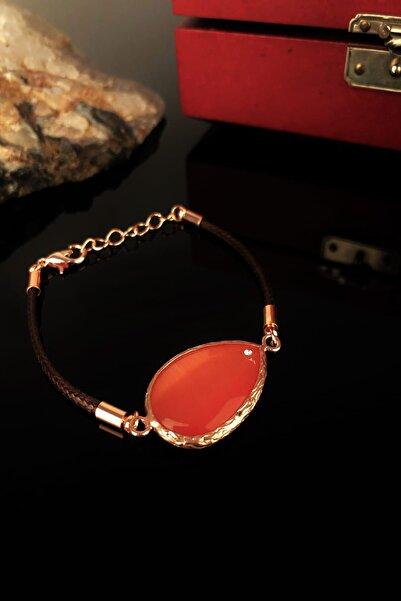 Dr. Stone Kadın Kedigözü Taşı Rose Altın Kaplama Bileklik Xkrb301