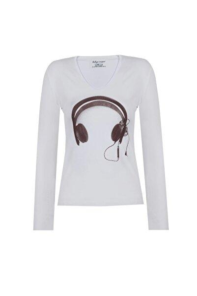 BY H Kadın Narrow Cut Tshirt Uzun Kollu Beyaz Kulaklık Baskılı V Yaka