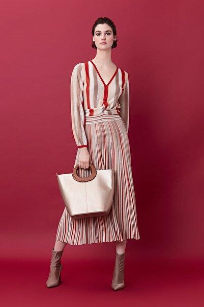 İpekyol Kadın Naturel Eteği Pilisoley Triko Elbise IS1190002181003